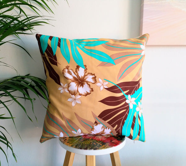 Tropical Tahitian print cushion cover, palm leaves print cushion cover