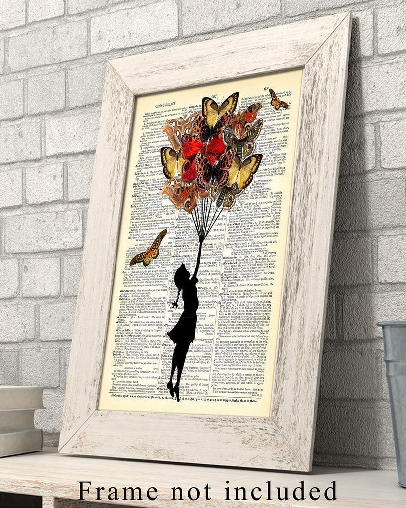 Hand With Flowers and Butterflies Upcycled Vintage Dictionary Art Print 8x10