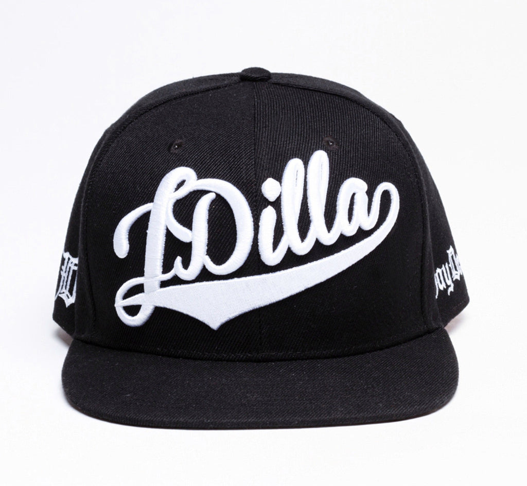 J Dilla Snapback Hat (White on Black)