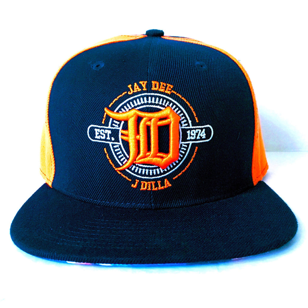 JD J Dilla Snapback Hat (Orange/Navy Blue)