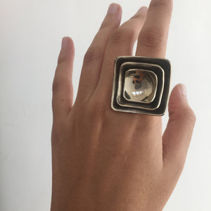 Antique Finish Geometric Ring
