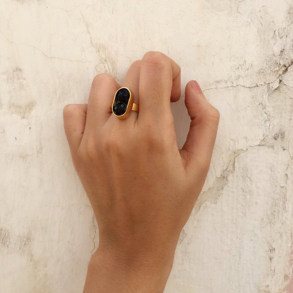 Black Onyx Bead Ring
