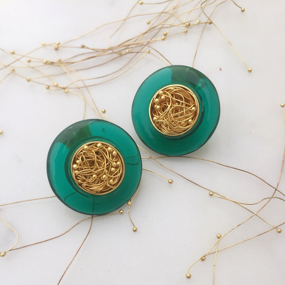 Green Onyx Mesh Earrings