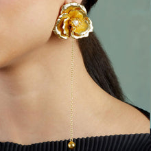 Load image into Gallery viewer, Pearl Rose Chain Earrings