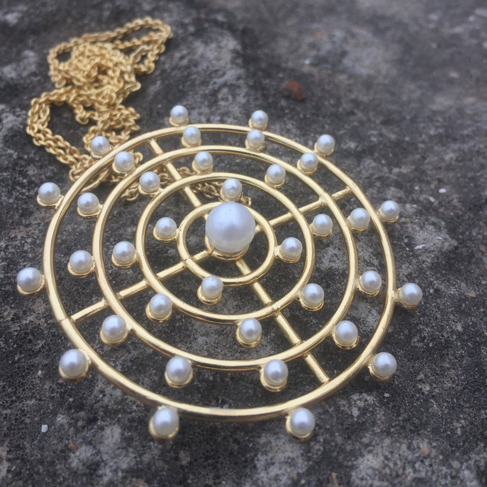Pearl Orbit Pendant with Long Chain