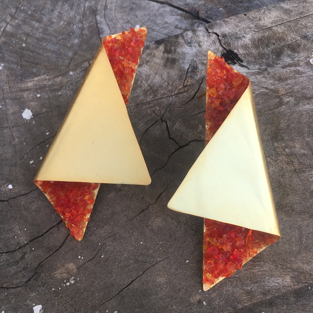 Red Onyx Origami Earrings
