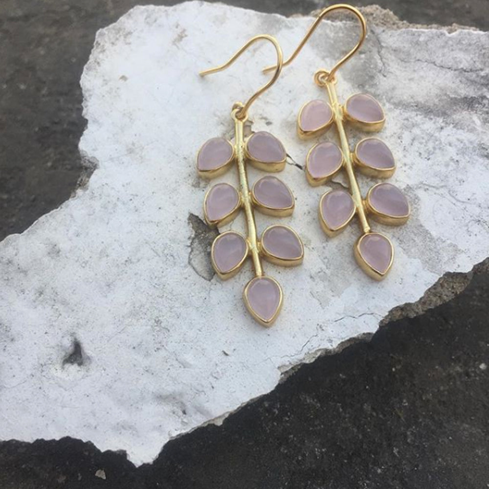 Rose Quartz Petal Earrings