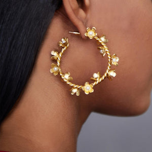 Floral Small Pearl Hoops