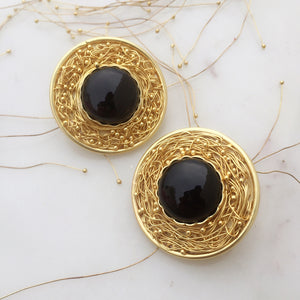 Statement Black Onyx Mesh Earrings