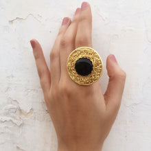 Load image into Gallery viewer, Statement Black Onyx Mesh Ring