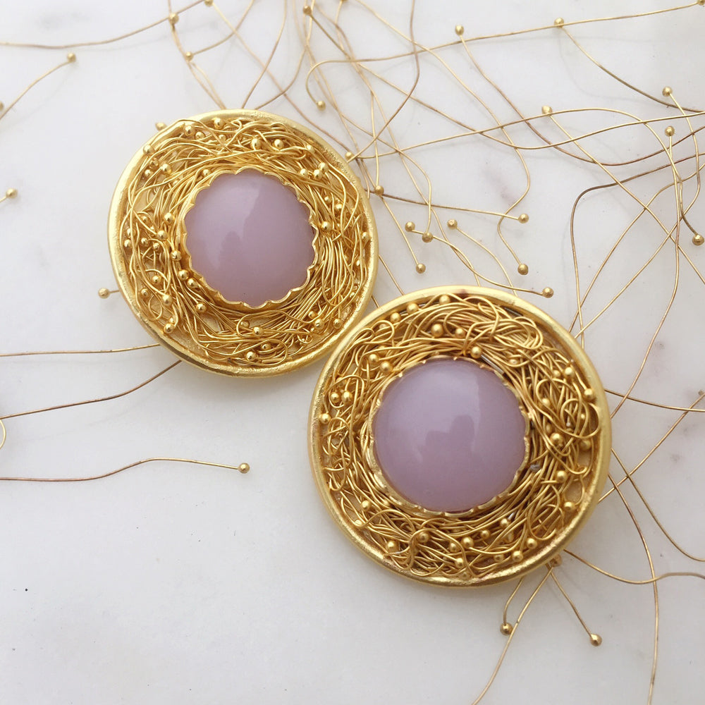 Statement Rose Quartz Mesh Earrings