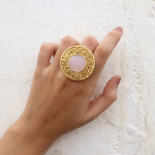 Load image into Gallery viewer, Statement Rose Quartz Mesh Ring