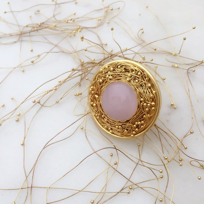 Statement Rose Quartz Mesh Ring