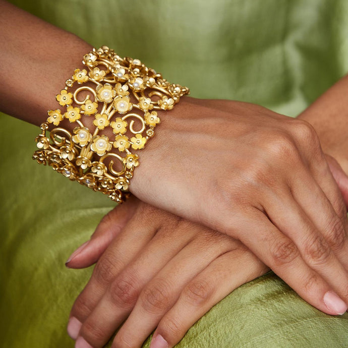 Statement Floral Bracelet with Pearls