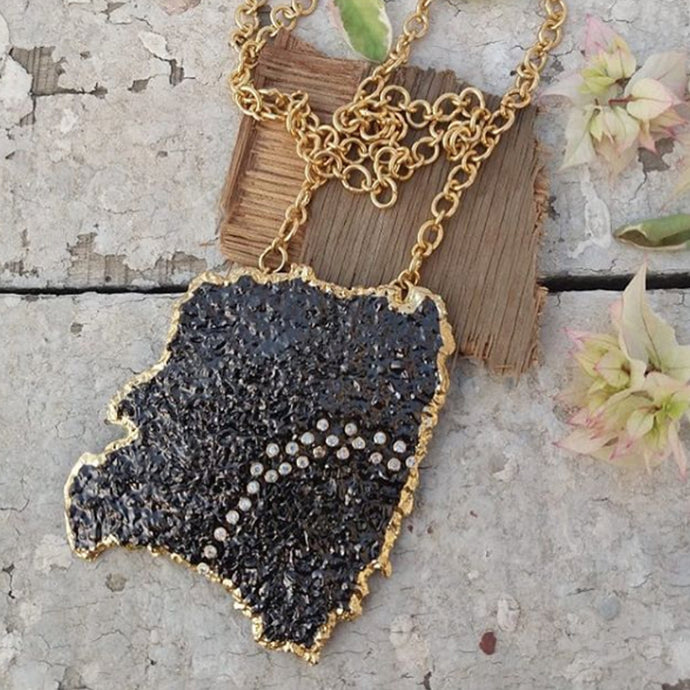 Statement Lava Pendant with Long Chain