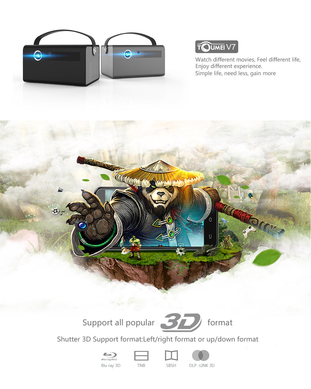 Toumei V7 3D Projector Features 01