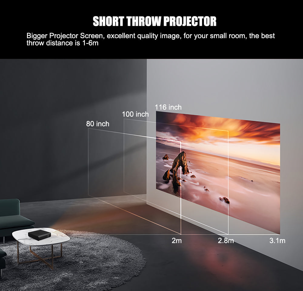 Toumei K2 Short Throw 3D Portable Projector Details 06