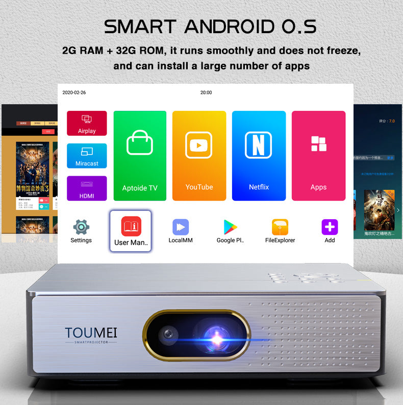 Toumei S9 Portable 3D Mini Projector Real 1080P Details 02