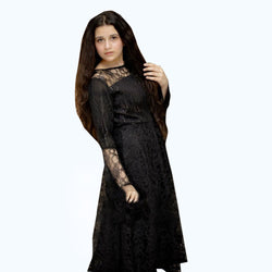 BLACK FLORAL NET MAXI DRESS (SSP2003MD08)