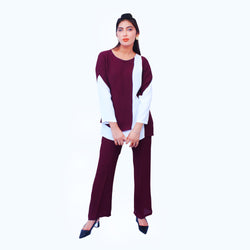 MAROON&WHITE TWO PIECE SUIT (F19FA10S16)