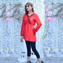 RED EMBROIDERED TOP (SSP2102TU14)