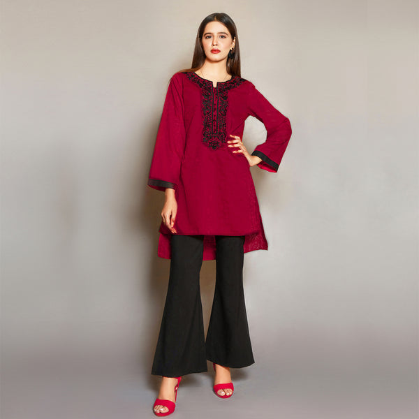 MAROON EMBROIDERED DRESS (SE22007DR01)
