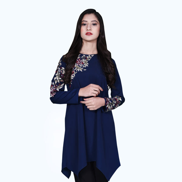 NAVY EMBROIDERED DRESS (SSP2001DR52)