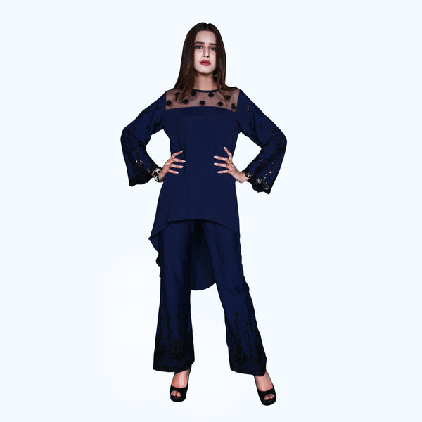 NAVY EMBROIDERED TWO PIECE SUIT (SSP2002SU06)