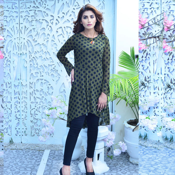 OLIVE GREEN POLKA DOTS DRESS (SSP2101DR37)