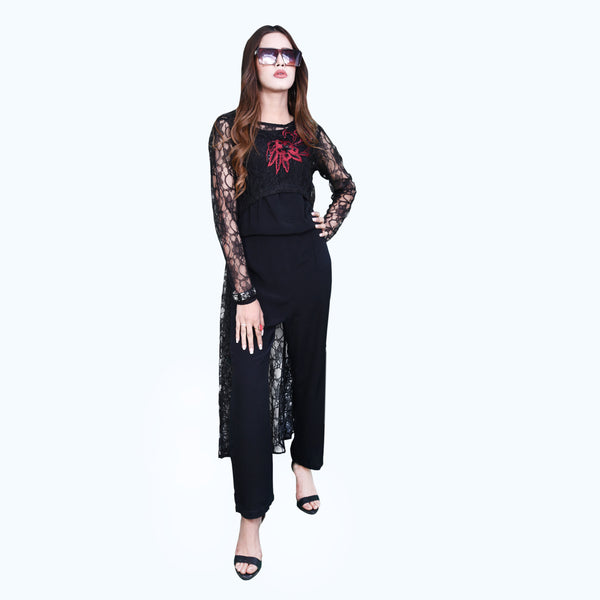 BLACK NET EMBROIDERED JUMPSUIT (SSP2002JS51)