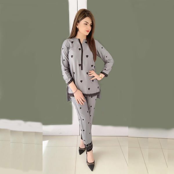 GRAY EMBROIDERED TWO PIECE SUIT  ( SSP2102SU71)
