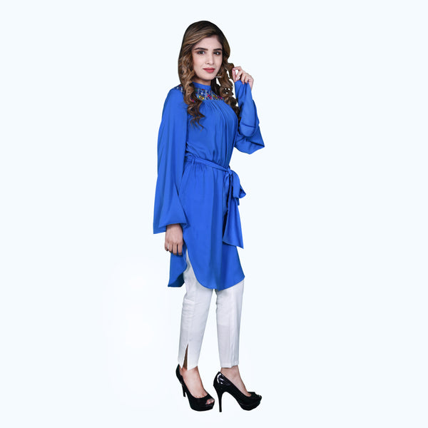 BLUE EMBROIDERED DRESS (SSP2002DR23)