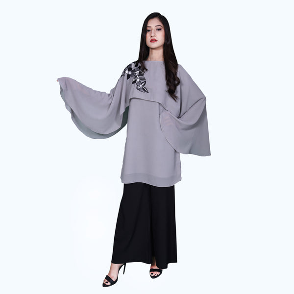 COOL GREY CAPE EMBROIDERED DRESS (SE12004DR08)
