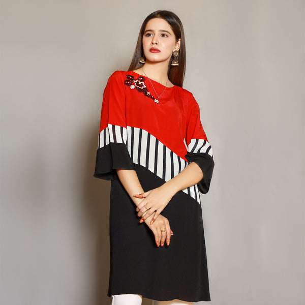 BLACK & RED EMBROIDERED DRESS (SE22007DR20)