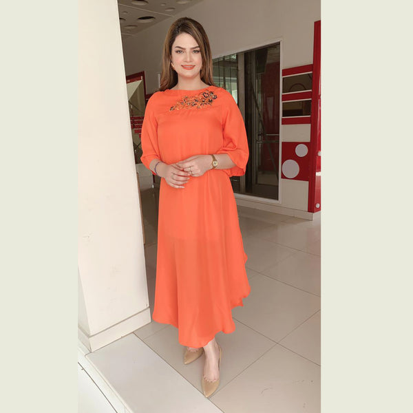 ORANGE EMBROIDERED DRESS (SSP2101DR73)