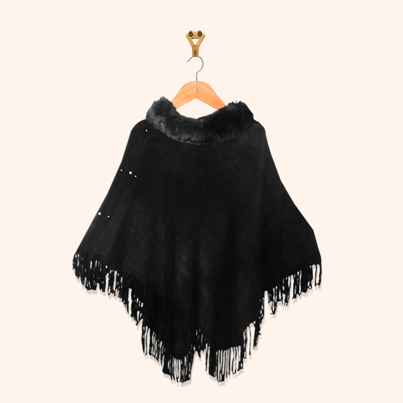 FUR PONCHO WITH BEADS