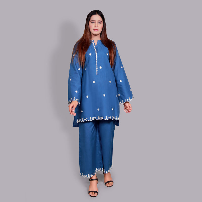 BLUE EMBROIDERED TWO PIECE SUIT (SSP2103SU82)