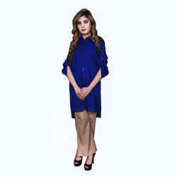 ELECTRIC BLUE BUTTON DOWN DRESS (SSP2001DR34)