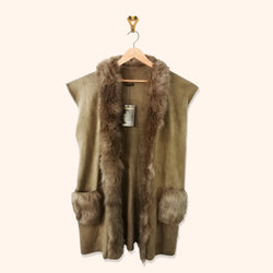 BROWN FUR LONG CARDIGAN