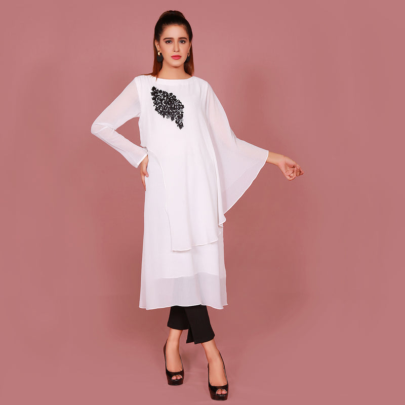 WHITE EMBROIDERED DRESS (SFA2008DR04)