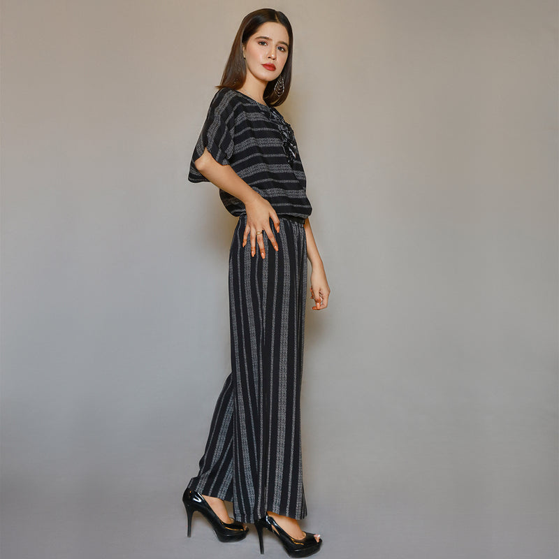 BLACK STRIPES EMBROIDERED JUMPSUIT (SE22007JS03)