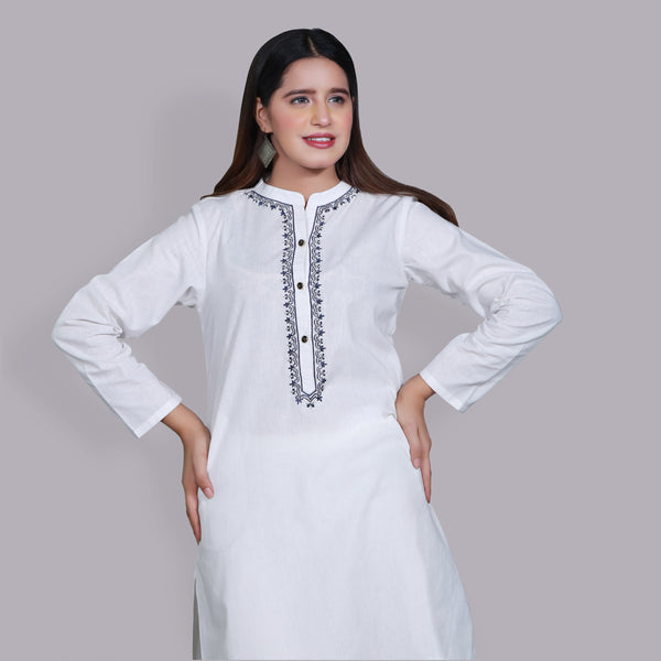 WHITE EMBROIDERED TWO PIECE SUIT (SSP2103SU65)