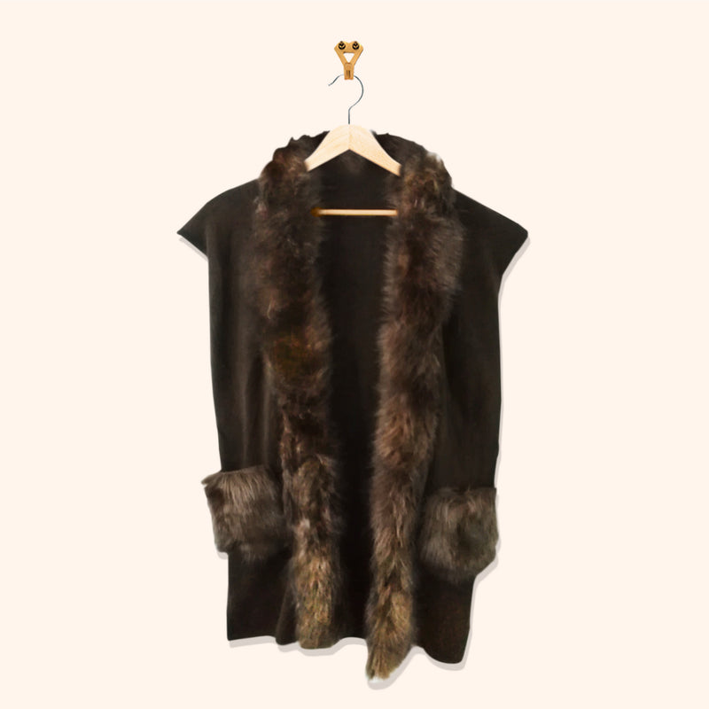 CHOCOLATE BROWN LONG FUR CARDIGAN