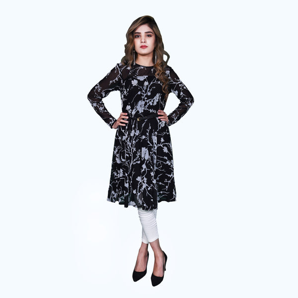BLACK FLORAL PRINTED DRESS (SSP2101DR18)