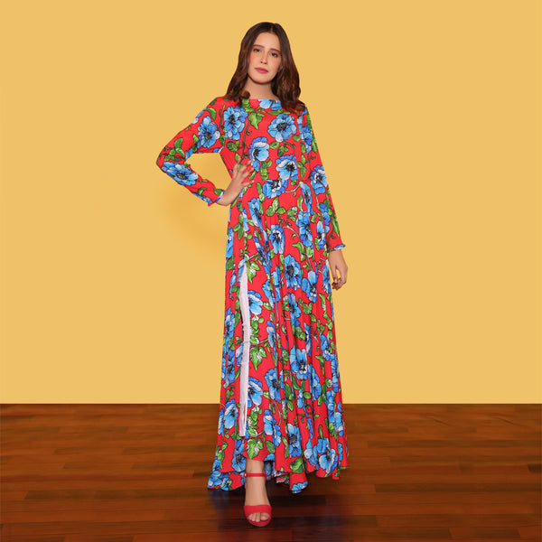 RED FLORAL PRINTED MAXI (SWI2010MD25)
