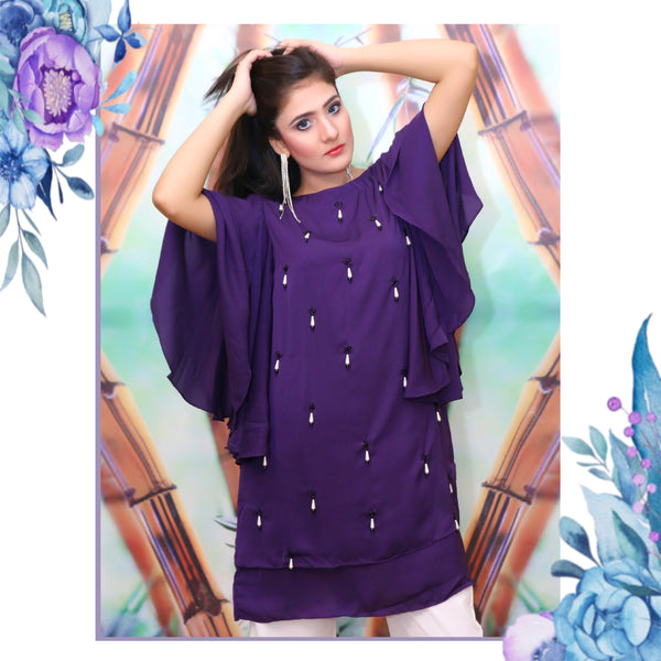 PURPLE BEADED DRESS (SE12002DR35)