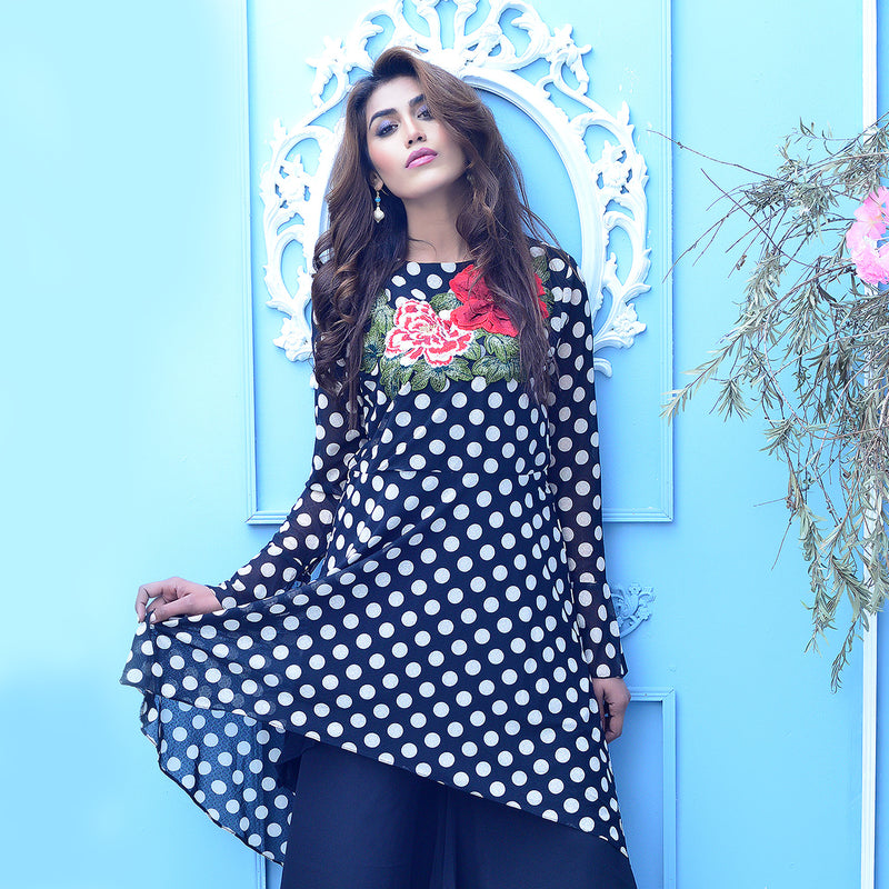 POLKA DOTS EMBROIDERED DRESS (SSP2101DR38)