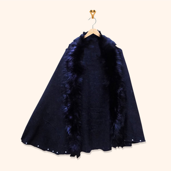 FUR CAPE WITH BEADS