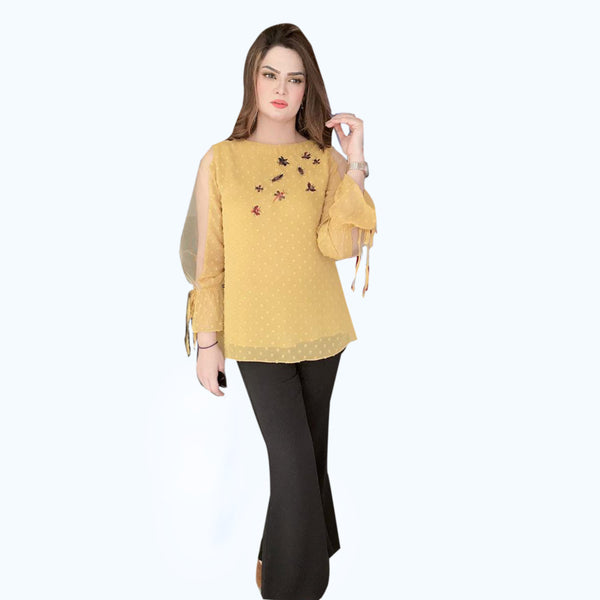 MUSTARD EMBROIDERD TOP (SE12004TU19)