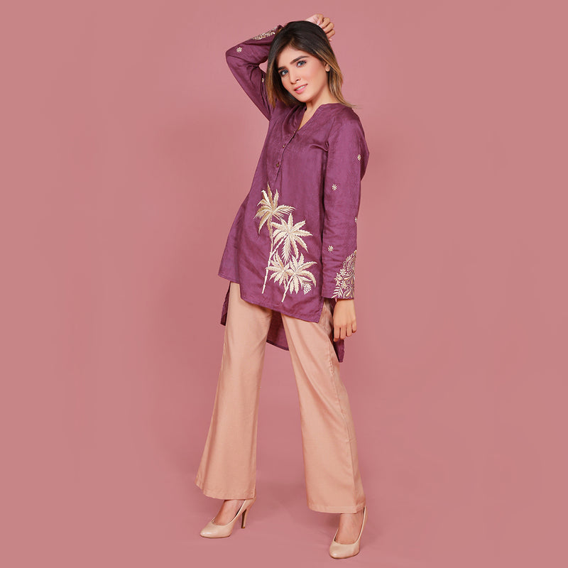 PLUM EMBROIDERED DRESS (SFA2008DR06)